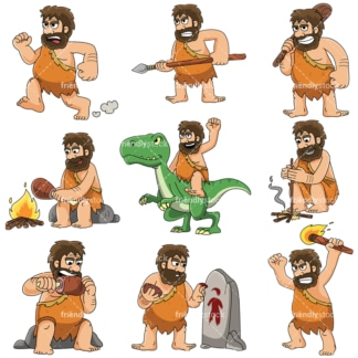 Prehistoric caveman - Images isolated on white background. Transparent PNG and vector (infinitely scalable) EPS