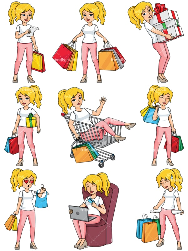 Young woman shopping - Images isolated on transparent background. PNG