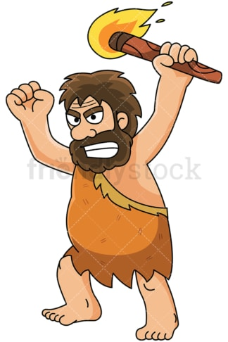Angry caveman holding fire torch - Image isolated on white background. Transparent PNG and vector (infinitely scalable) EPS
