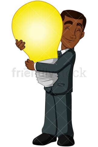 Black business man hugging light bulb - Image isolated on transparent background. PNG