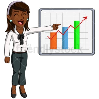 Black business woman growth chart - Image isolated on transparent background. PNG