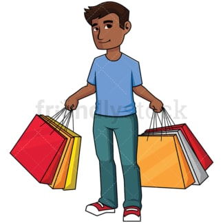 Black man holding shopping bags - Image isolated on transparent background. PNG