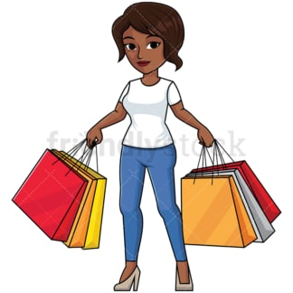 Black woman holding shopping bags - Image isolated on transparent background. PNG