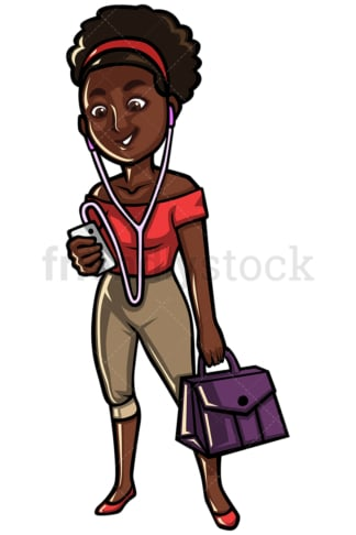 Black woman listening to music on mobile - Image isolated on white background. Transparent PNG and vector (infinitely scalable) EPS