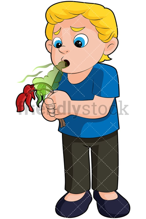 Boy killing flower with bad breath - Image isolated on transparent background. PNG