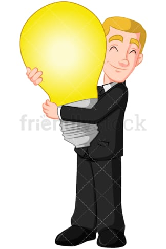Business man hugging light bulb - Image isolated on transparent background. PNG