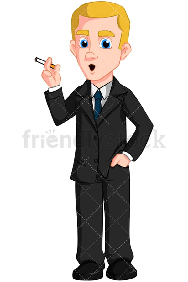 Business man smoking cigarette - Image isolated on transparent background. PNG