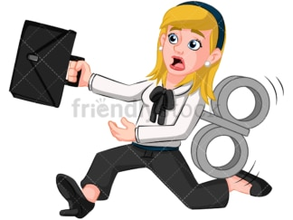 Business woman clockwork toy - Image isolated on transparent background. PNG