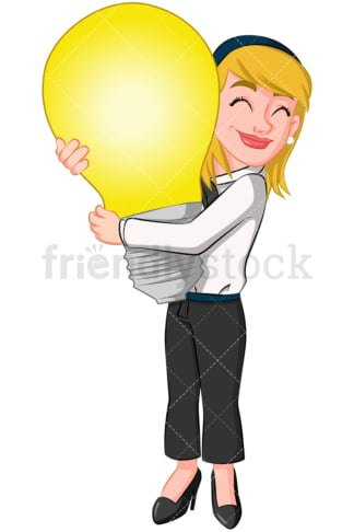 Business woman hugging light bulb - Image isolated on transparent background. PNG