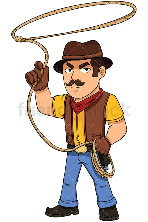 Cowboy throwing lasso - Image isolated on white background. Transparent PNG and vector (infinitely scalable) EPS