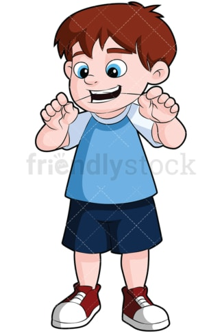 Cute boy flossing his teeth - Image isolated on transparent background. PNG