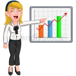 Excited business woman growth chart - Image isolated on transparent background. PNG