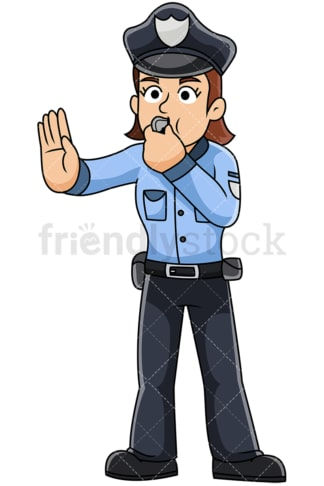 Female police officer blowing whistle - Image isolated on transparent background. PNG