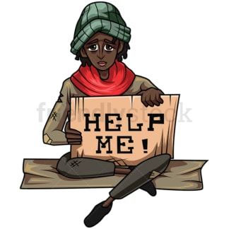 Homeless black woman help sign. PNG - JPG and vector EPS file formats (infinitely scalable). Image isolated on transparent background.