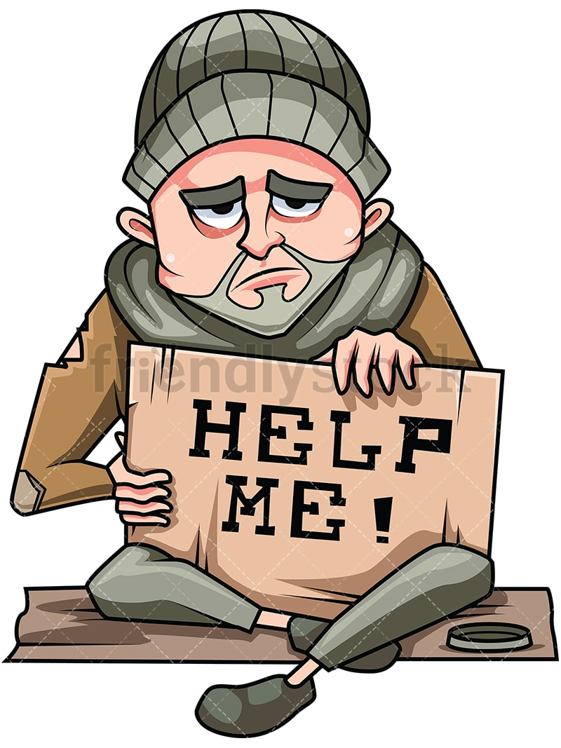 Need Help With Bi Level Exterior And Curb Appeal: Homeless Man In Need Of Help Vector Cartoon Clipart