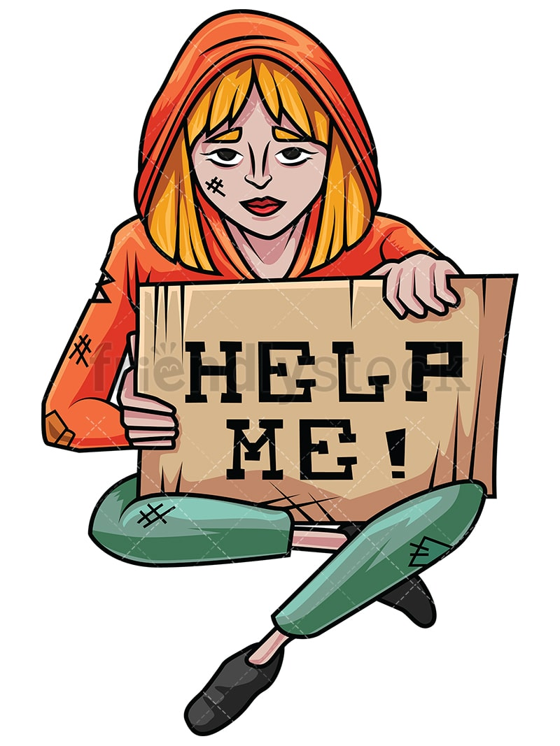 Need Help With Bi Level Exterior And Curb Appeal: Homeless Woman In Need Of Help Vector Cartoon Clipart