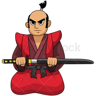 Japanese samurai kneeling. PNG - JPG and vector EPS file formats (infinitely scalable). Image isolated on transparent background.