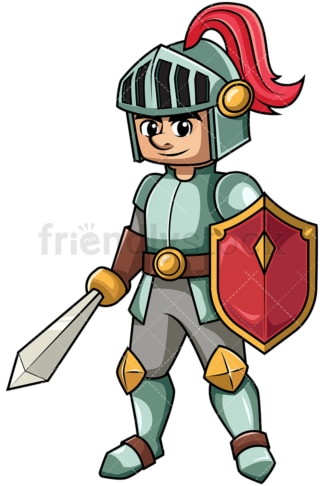 Knight holding sword and shield. PNG - JPG and vector EPS file formats (infinitely scalable). Image isolated on transparent background.