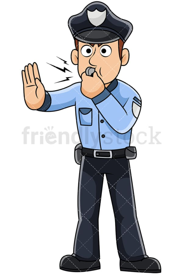 Male police officer blowing whistle - Image isolated on transparent background. PNG