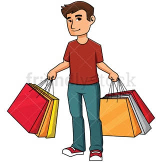 Man holding shopping bags - Image isolated on transparent background. PNG