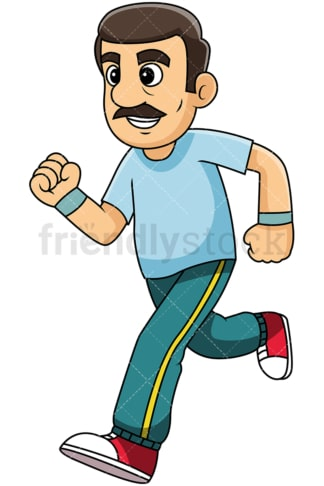 Mature man with mustache jogging - Image isolated on transparent background. PNG