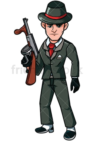 Mobster holding a russian submachine gun - Image isolated on transparent background. PNG