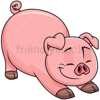 Pig stretching after good sleep - Image isolated on transparent background. PNG