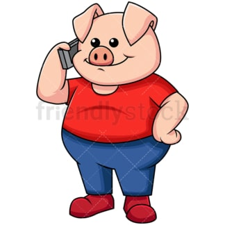 Pig talking on mobile phone - Image isolated on transparent background. PNG