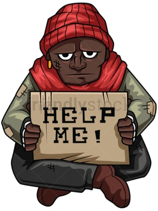 Poor black man holding help sign. PNG - JPG and vector EPS file formats (infinitely scalable). Image isolated on transparent background.