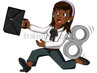 Robotized black business woman - Image isolated on transparent background. PNG