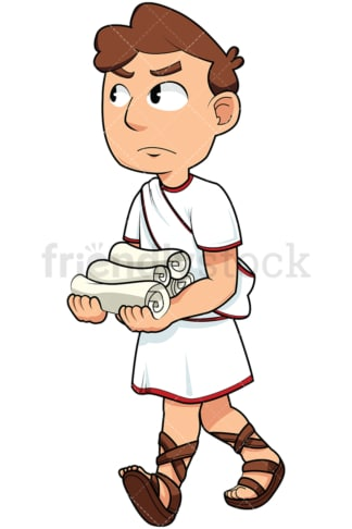 Roman senator holding rolls of paper - Image isolated on transparent background. PNG