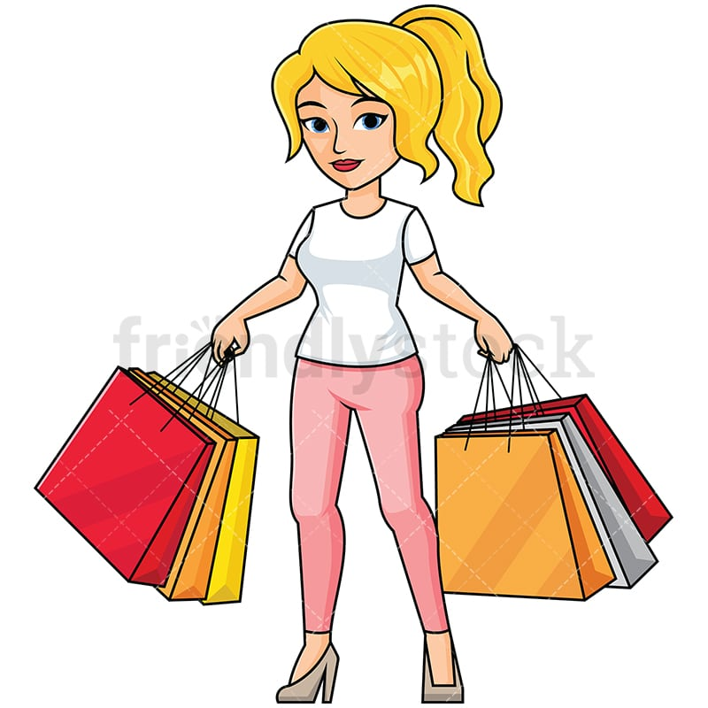 Woman Shopping Clipart Woman Holding Shopping...