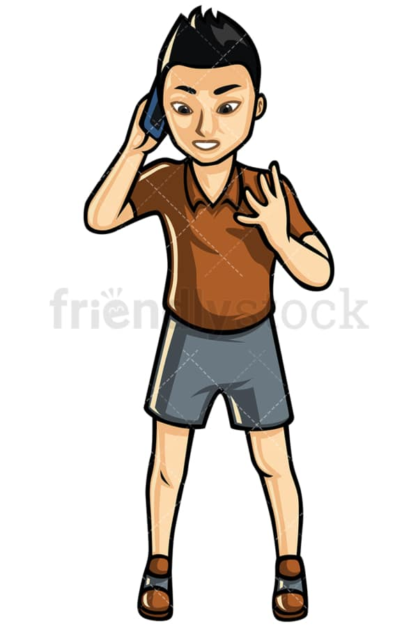 Asian man making a call - Image isolated on white background. Transparent PNG and vector (infinitely scalable) EPS