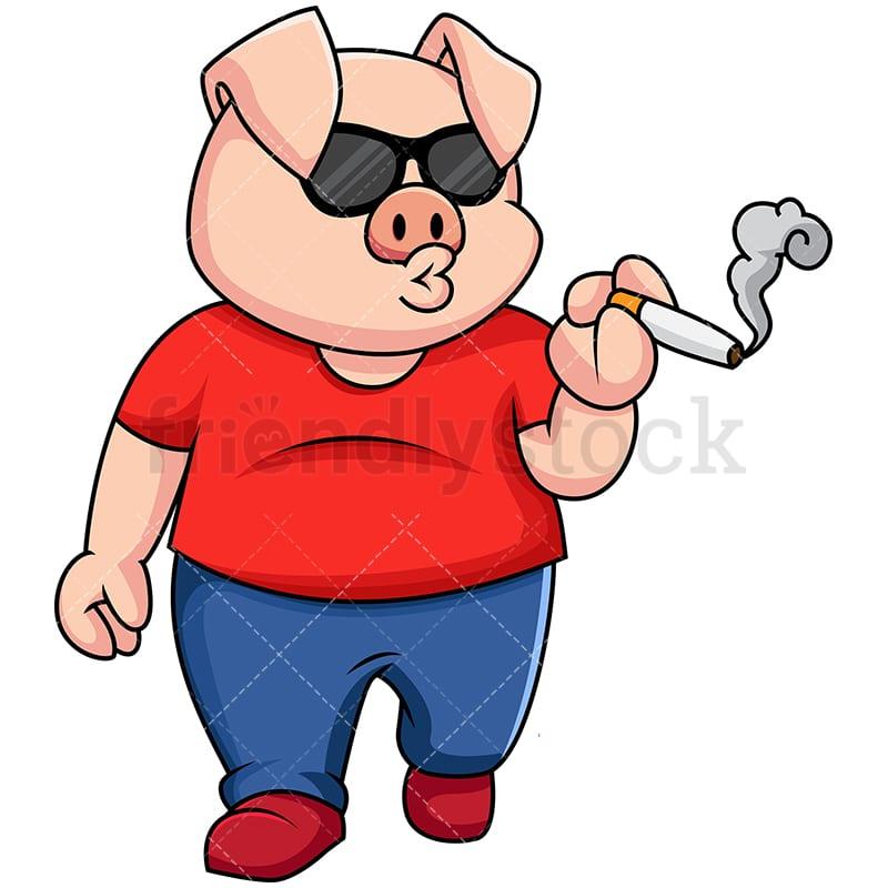 Badass Pig Smoking A Cigarette Vector Cartoon Clipart Friendlystock
