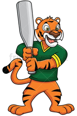 Bengal tiger mascot holding baseball bat - Image isolated on white background. Transparent PNG and vector (infinitely scalable) EPS