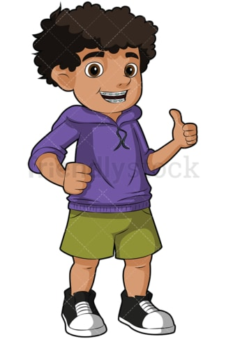 Black boy with braces thumbs up - Image isolated on transparent background. PNG