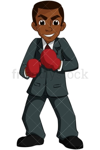 Black business man wearing boxing gloves - Image isolated on transparent background. PNG
