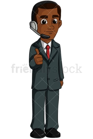 Black business man wearing headset - Image isolated on transparent background. PNG