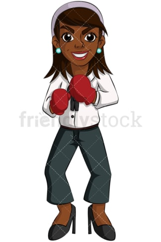 Black business woman boxing gloves - Image isolated on transparent background. PNG