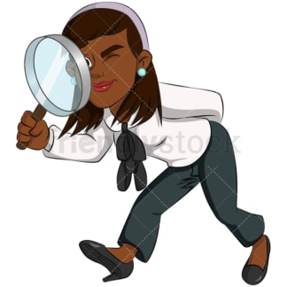 Black business woman magnifying lens - Image isolated on transparent background. PNG