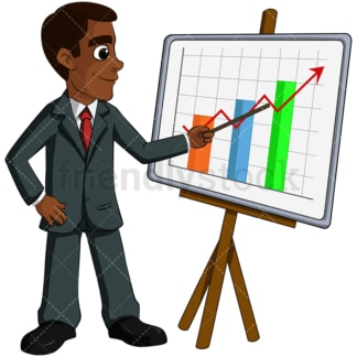 Black businessman giving presentation - Image isolated on transparent background. PNG