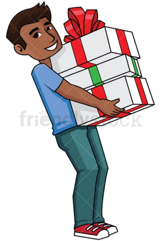 Black man holding a bunch of presents - Image isolated on transparent background. PNG
