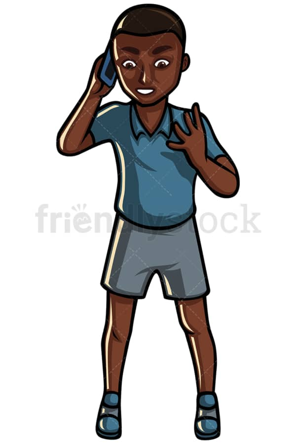 Black man making a call - Image isolated on white background. Transparent PNG and vector (infinitely scalable) EPS