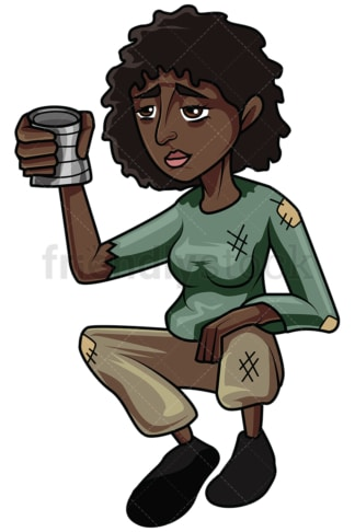Black woman begging for money. PNG - JPG and vector EPS file formats (infinitely scalable). Image isolated on transparent background.