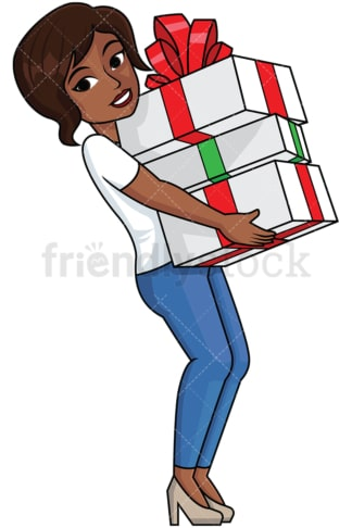 Black woman holding presents - Image isolated on transparent background. PNG