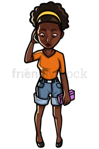 Black woman talking on mobile phone - Image isolated on white background. Transparent PNG and vector (infinitely scalable) EPS