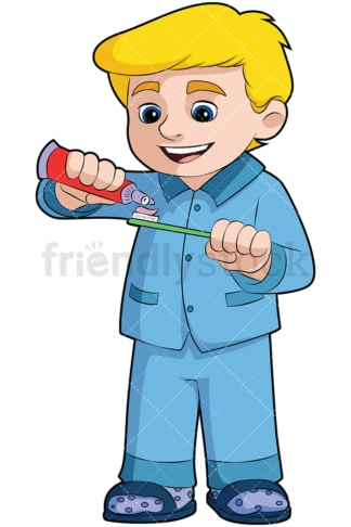 Boy applying toothpaste on toothbrush - Image isolated on transparent background. PNG