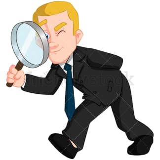 Business man using magnifying glass - Image isolated on transparent background. PNG