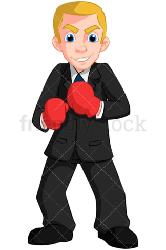 Business man wearing boxing gloves - Image isolated on transparent background. PNG