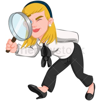 Business woman holding magnifying lens - Image isolated on transparent background. PNG